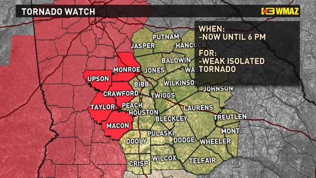Tornado watch issused for central Ga. counties